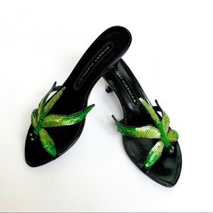 ROBERT CLERGERIE Green Sequin Dragonfly Mules